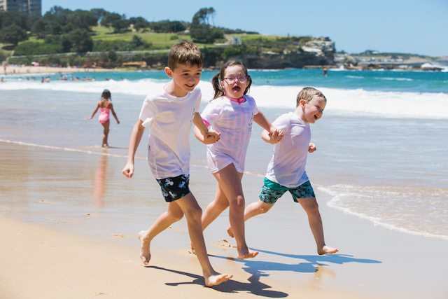 Coogee Dippers kids Harley Getts, 8, Cate Smith, 8, and Jasper Getts, 4. Picture: Dylan Robinson